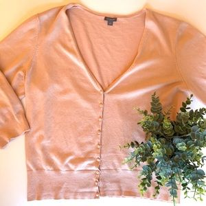Ann Taylor ballet pink tiny button cardigan